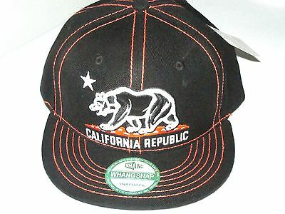 California Republic BEAR  Flat Bill  Snapback  BLACK/ORANGE STITCHES by WHANG