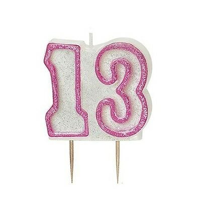 Pink Glitz Number 13 Candle 13th Birthday Cake Candles Party Decorations