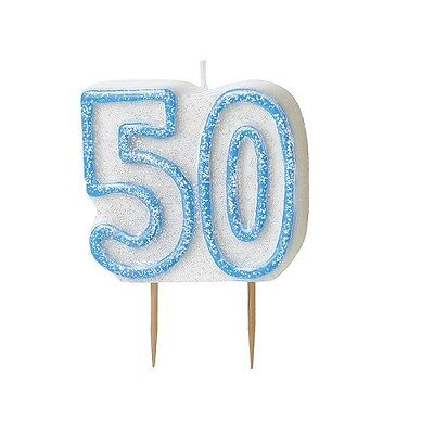 Blue Glitz Number 50 Candle 50th Birthday Cake Candles Party Decorations