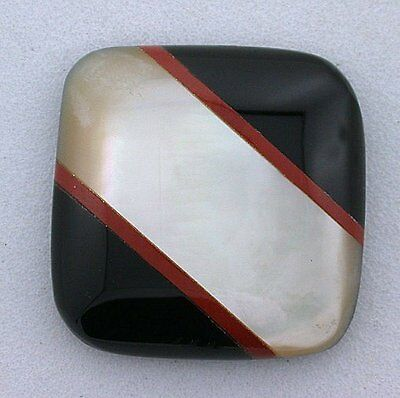 24mm SQUARE MOTHER OF PEARL RED JASPER BLACK ONYX CUSTOM CAB CABOCHON GEMSTONE