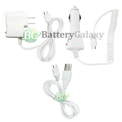 USB Cable+Car+Wall Charger for Samsung Galaxy S S2 S3 S4 S5 S6 S7 Active 50+SOLD