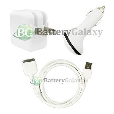 USB Cable+Wall AC+Car Charger for Tab Tablet Apple iPad 1 2 3 1st 2nd 3rd Gen