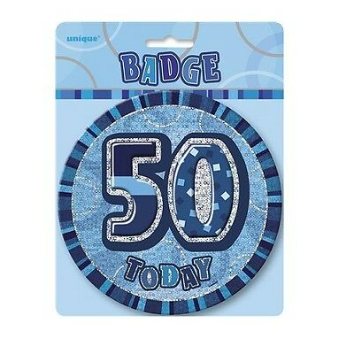 "Blue Glitz 50 Today 6"" Giant 50th Birthday Badge Party Badges Decorations"