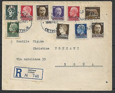 Montenegro covers 1941 INTERESTING! R-cover Cetinje to Roma
