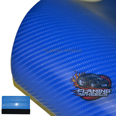1.5m x 3m Carbon fibre wrap vinyl 4D BLUE gloss car van sticker decal BONNET