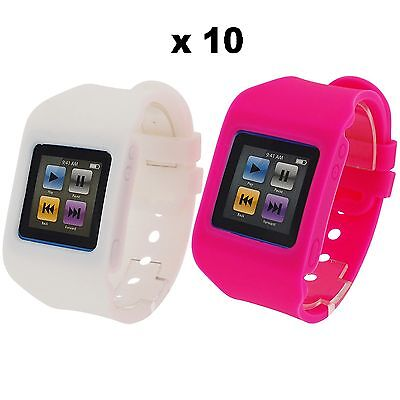 Rubz White Pink Watch Band Case Cover for Apple iPod Nano 6th Gen 10 Packs of 2