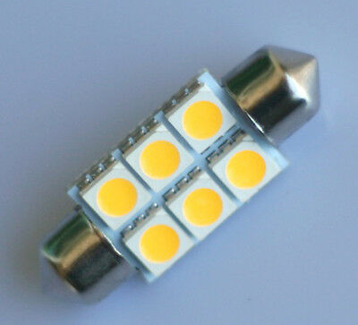 Warm White 36mm 6 SMD 5050 Car Interior LED Dome Festoon Bulb C5W Light 12V