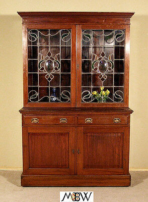 Large ANTIQUE English MAHOGANY VICTORIAN BOOKCASE w/Glass Doors  c1899