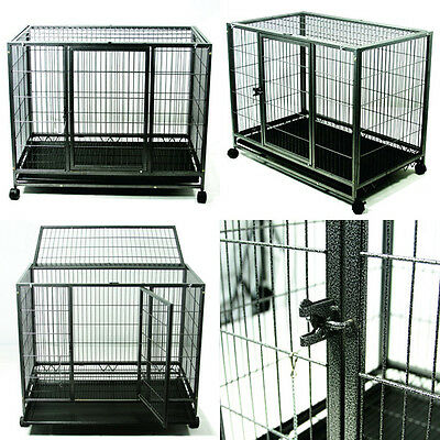 "37""  Heavy Duty Dog Kennel w/ Wheels Portable Carrier Crate Pet Puppy Cage Large"