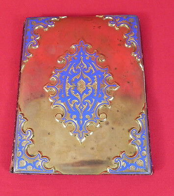 Rare Antique 19th,c. Victorian Enamel and Gilt  Desk Folder