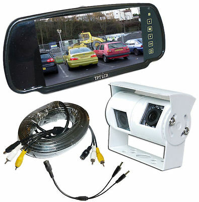 Motorhome Twin Camera Rear View Reversing Kit & Mirror Monitor (white camera)