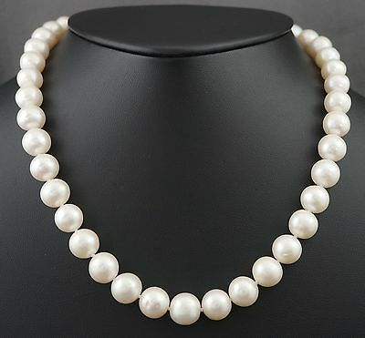 "Rare Elegant Solid 14K Gold & 10mm Freshwater Pearl 17.5"" Strand Estate Necklace"