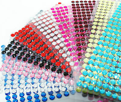 Self adhesive stick on diamante rhinestone gems 2mm 3mm for Stick on gems for crafts