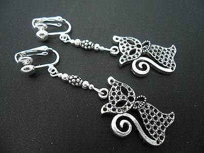 A Pair Of Tibetan Silver  Cat Clip On Earrings. New.