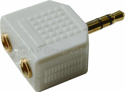 GOLD 3.5mm Stereo Jack Audio Cable Headphone Splitter Ipod to 2 Earphones WHITE