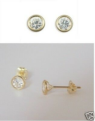 Girls 9ct GOLD 5mm Small Round Clear White CZ STUDS EARRINGS B'day GIFT BOX NEW