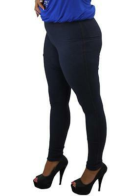 Ladies Plus Size Full Length Elasticated Waistband Stretch Denim Stitch Jeggings