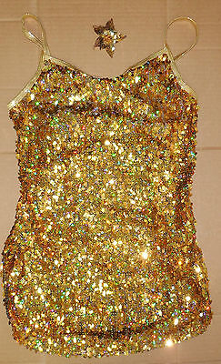 NWT Dance Jazz Sequin Teardrop Dress Hologram Gold Large Adult