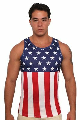 97cbe56ce7328 Men s Usa Flag Tank Top Stars And Stripes Pride Old Glory Sleeveless Shirt  ...