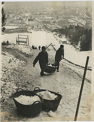 Austria, Innsbruck anxiety, No snow for Winter Olympics  Vintage silver print