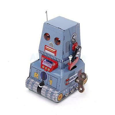 Vintage Retro Style Wind Up Tank Robot Tin Toy Collectible Gift w/ Key New