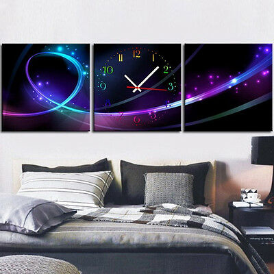 3pcs Gorgeous Linear Universe Modern Style Abstract Wall Clock in Canvas US