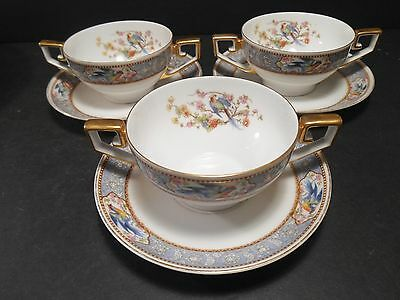 Tirschenreuth Bavaria China Pat. Florida Cream Soup Bowls lot 3 Bowls & Saucers