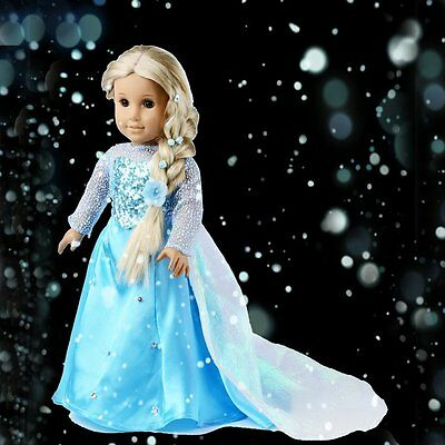 "Doll Clothes For 18"" American Girl Inspired by Elsa Sparkle Princess Dress"