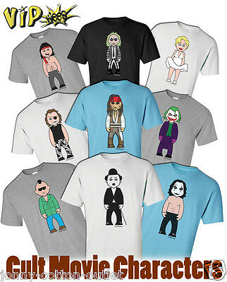 VIPwees Mens T-Shirt Cult Movie Characters Inspired Caricatures Choose Design