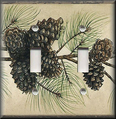 Metal Light Switch Plate Cover Pine Cone Decor Branches Decor Cabin Decor Rustic