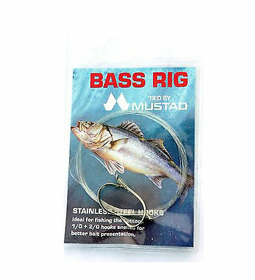 Mustad Bass double hook rigs for Sea fishing with swivel