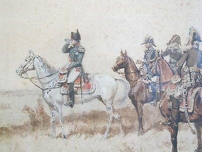 Rare & Important Painting  Napoleon & Calvalry  ERNEST MEISSONIER French antique