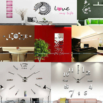 DIY 3D Modern Wall Clock Frameless Wall Decal Mirror Stickers Home Decor Hours