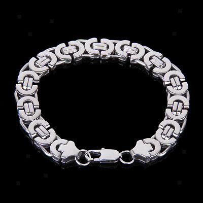 Men's Stainless Steel Half Round Flat Curb Link Chain Bracelet Bangle Silvery