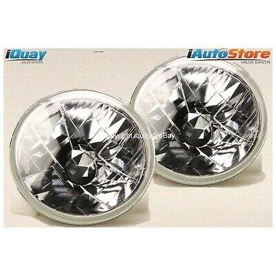 """7"""" Inch Headlights Crystal Semi-Sealed Universal Lamps Clear Round Head Lights"""