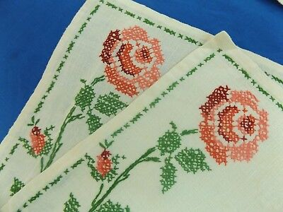 Set of 4 Vintage Antique LINEN HAND EMBROIDERED ROSES PLACEMATS