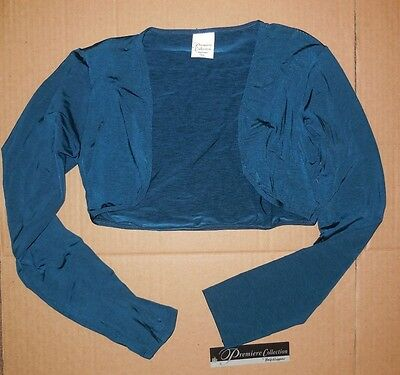 NWT Body Wrappers P492 shrug Teal tactel Spandex Great Coverup Ladies size tall