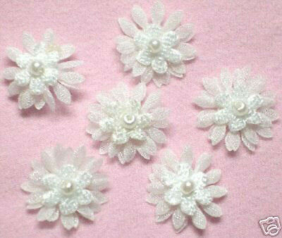 Cute Organza Flower w/ pearl Appliques x 70 White-For Baby/dolls