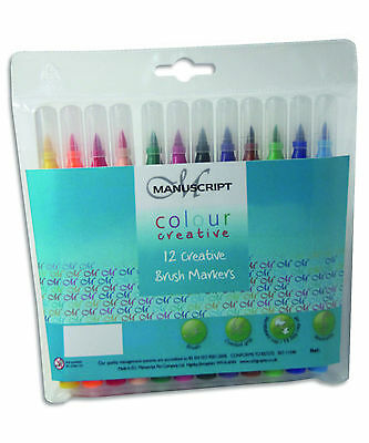 Wallet Of 12 Manuscript Brush Marker Pens Assorted Colours Felt Fibre Tip 3612P