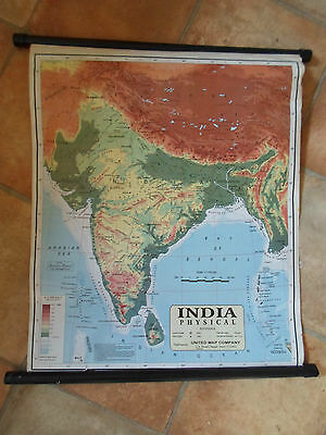 Colour Wall Hanging Map INDIA PHYSICAL - United Map Company 2000