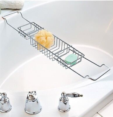 New 3 Compartment Extandable Chrome Over Bath Caddy Rack Shower Tray Tub Caddy
