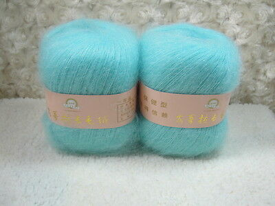 4*50g Skeins Luxury Angola Mohair Cashmere Wool Yarn Lot;Fine;200g;light blue