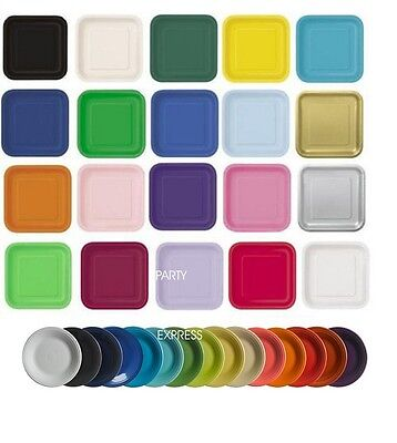 Paper Party Plates Round Or Square Solid Colours Choice Of Pack Sizes