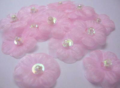 """1"""" Organza Sequin Beaded Flower Appliques x 60 Pink~Sewing/Craft"""
