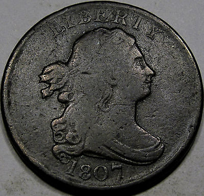 1807 Draped Bust Half Cent Choice F-VF...Nice and Original, Nice Early Half Cent
