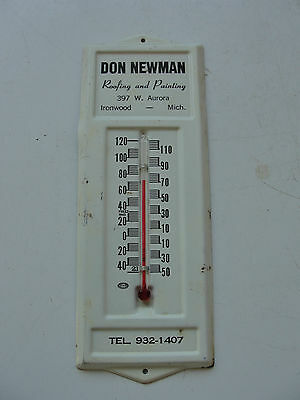 Don Newman advertising tin thermometer, old, roofing, painting