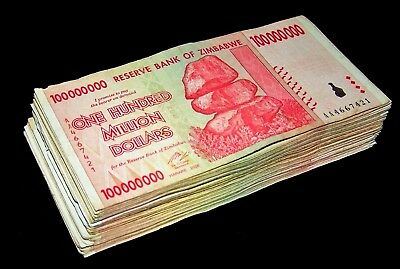 20 x Zimbabwe 100 Million Dollar banknotes-1/5 currency bundle