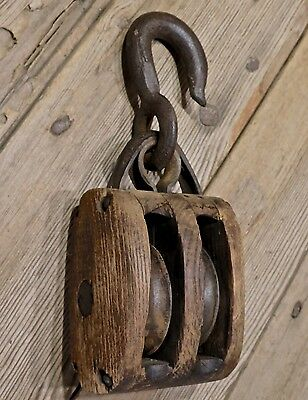 "Wood double Pulley block tackle rustic old vintage barn hook 3"" wheel primitive"