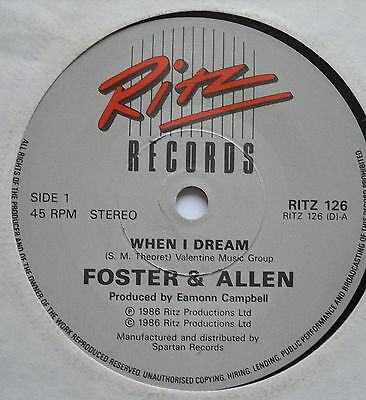 "FOSTER & ALLEN - When I Dream - Excellent Condition 7"" Single RITZ 126"