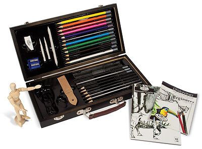 Beginners Artist Box Set Sketching Pad & Drawing Pencils Manikin Model Art S3000